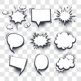 Big set hand drawn blank effects template comic speech bubbles halftone dot vector transparent background in pop art style. Dialog empty cloud, space for text. Creative comics book conversation chat - 227839407
