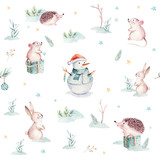 Watercolor Merry Christmas seamless patterns with gift, snowman, holiday cute animals fox, rabbit and hedgehog. Christmas tree celebration paper. Winter new year design. - 227839479