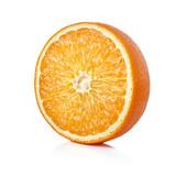 single half of ripe orange fruit isolated on whtie background