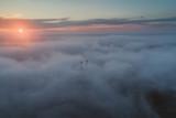 Redzinski bridge in the clouds aerial view