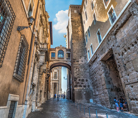 Ancient buildings in a narrow street in Rome