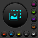 Drag image to bottom left dark push buttons with color icons - 227846463