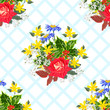 Seamless pattern with beautiful garden flowers on checkered background. Flower background for textile, cover, wallpaper, gift packaging, printing.Romantic design for calico, silk. - 227847058