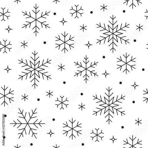 seamless pattern with black snowflakes on white background flat line snowing icons cute snow