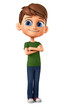 Cheerful boy in a green T-shirt crossed his arms. 3d render illustration.