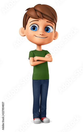 Leinwanddruck Bild Cheerful boy in a green T-shirt crossed his arms. 3d render illustration.