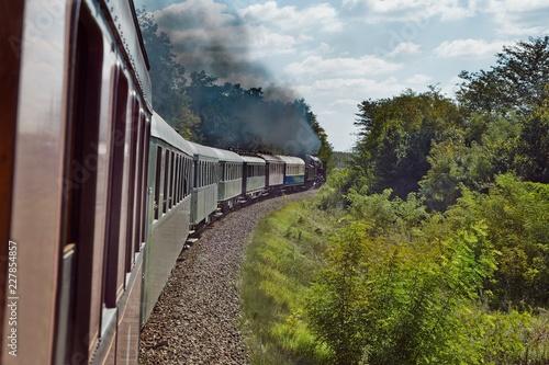 Train journey with steam locomotive