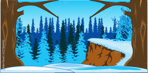 Sticker Bright and colorful landscape winter wood.Vector illustration