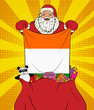 Santa Claus gets national flag of Ireland out of the bag with toys in pop art style. Illustration of new year in pop art style - 227868854