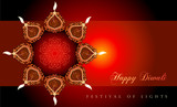 Motif drawing in the middle of an arrangement of Diwali lamps - 227869447
