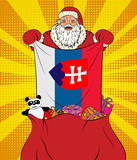 Santa Claus gets national flag of Slovakia out of the bag with toys in pop art style. Illustration of new year in pop art style