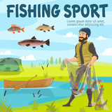 Fishing sport fisher and fish in net, vector