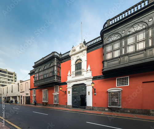 Facade of Riva Aguero house in the downtown of Lima city. Peru.