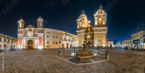 San Francisco square and church in Lima downtown, peru.