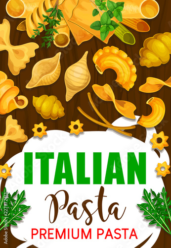 Poster Italian pasta in restaurant and cafe menu