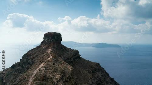 A time lapse overlooking Skaros rock in Santorini.