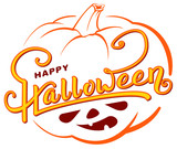 Happy Halloween text greeting card on orange pumpkin lantern outline - 227875673