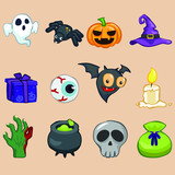 Halloween Symbol Collections In Doodle Style