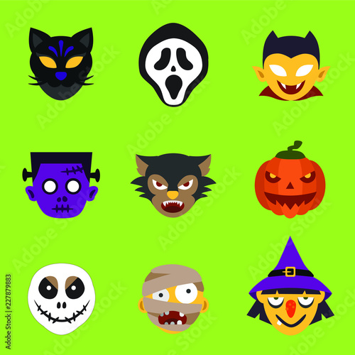 Halloween Monster Head Vector Set