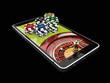 Leinwanddruck Bild - Online Internet casino app, roulette with chips on the phone, gambling casino games. 3d illustration