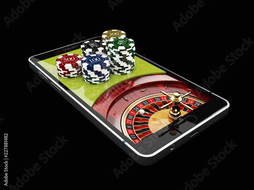 Leinwanddruck Bild Online Internet casino app, roulette with chips on the phone, gambling casino games. 3d illustration