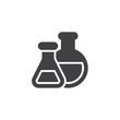Chemical flasks vector icon. filled flat sign for mobile concept and web design. Laboratory glassware or beaker simple solid icon. Chemistry science symbol, logo illustration