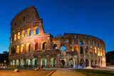 Colosseum in Rome, illumination at night with blue sky, Rome, Italy,