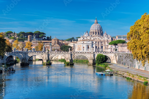 Leinwanddruck Bild Rome Skyline with Vatican St Peter Basilica at sunny autumn day, Rome Italy.