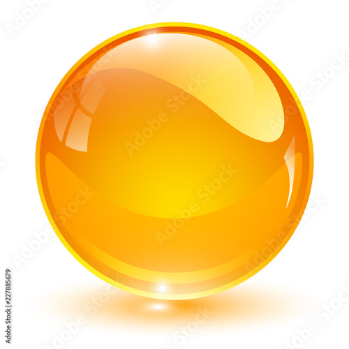 Glass sphere, orange 3D vector ball.