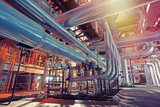 Equipment, cables and piping as found inside of a modern industrial power plant - 227889094