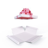 Gift box opened, surprise unpacked white present isolated 3d rendering