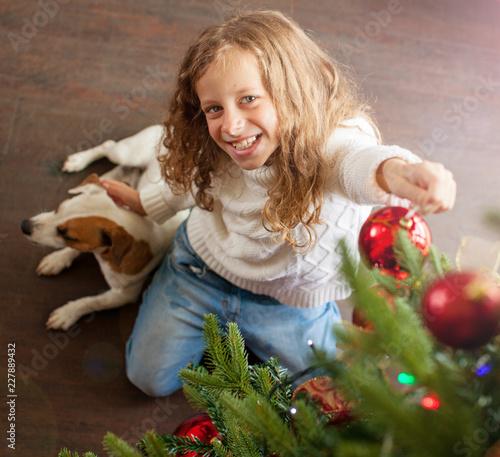 Foto Murales Child decoration christmas tree