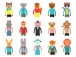 Zoo characters hipsters. Cartoon animals front view game avatars of fox bear dog giraffe owl cat and others vector mascots. Hipster wild animal, cat and monkey, lion and tiger illustration
