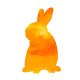 watercolor silhouette of a rabbit