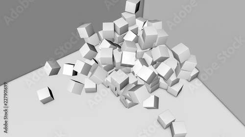 white cubes on a gray background. three-dimensional illustration. 3d rendering - 227901699