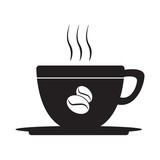 coffee cup logo with coffee beans, for design