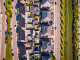 house from above newly built district of Urk Netherlands, family homes