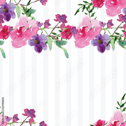 Hand-painted Watercolor pattern of a branch with flowers pink Magnolia flower spring card - 227906035