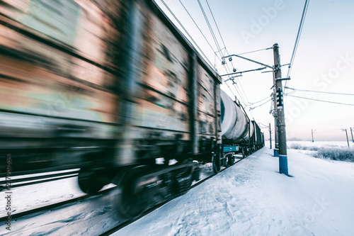 Winter railway and train with cargo. - 227907654