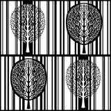 Abstract tree seamless pattern, stylized black and white forest, vintage vector monochrome drawing. Ornate tree with branches and crown foliage against the background strip rectangles in the square