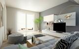 modernes Wohnzimmer im Dachgeschoss - 227916274
