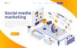 Flat color Modern Isometric Concept Illustration - Social Media marketing