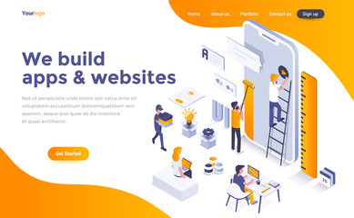Flat color Modern Isometric Concept Illustration - We build apps and websites © darkovujic