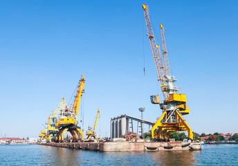 Port cranes in port of Burgas city, Bulgaria