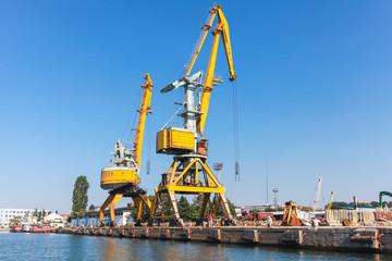 Port cranes work in Cargo port of Burgas