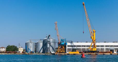 Storage tanks and port cranes. Burgas
