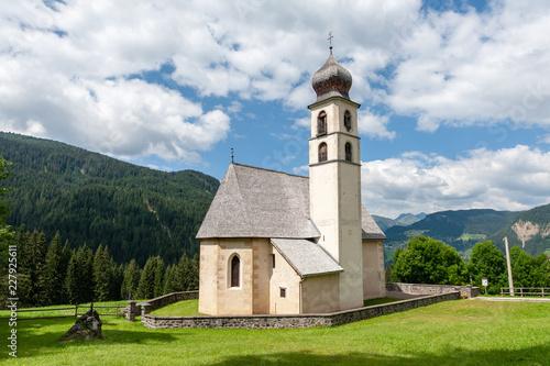 The Church of the village of Santa Fosca in the Italian Dolomites