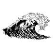 Monochrome big ocean wave concept