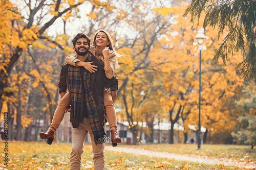 Couple enjoying fall