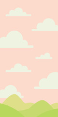 Soft nature landscape with pink sky, green hills. Rural scenery. Sunrise time. Vector illustration in simple minimalistic flat style. Scene for your artwork and design. Vertical composition. © tinkivinki